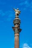巴塞罗那,西班牙- 2016年4月17日:指向美国的克里斯托弗・哥伦布雕象 免版税库存图片