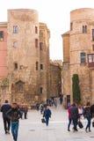 巴塞罗那,西班牙- 2017年2月16日:罗马塔在哥特式四分之一西班牙语人聚居的区域Gothico 垂直 免版税库存照片