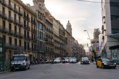 巴塞罗那,西班牙- 2017年1月10日:街道视图 图库摄影