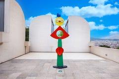 巴塞罗那,西班牙- 2016年4月22日:雕塑在Fundacio基础现代艺术胡安・米罗博物馆  库存照片