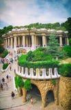巴塞罗那,西班牙- 2016年9月10日:2016年9月10日的公园Guell在巴塞罗那,西班牙 库存照片