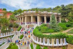 巴塞罗那,西班牙- 2016年9月10日:2016年9月10日的公园Guell在巴塞罗那,西班牙 免版税库存照片