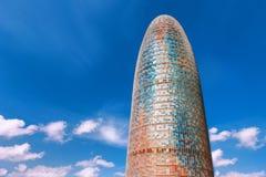巴塞罗那,西班牙- 2016年4月17日:Torre塔Agbar 图库摄影