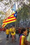 巴塞罗那,西班牙- 9月 11 :体现ingependence的少年 免版税库存图片