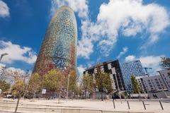 巴塞罗那,西班牙- 5月7 :2016年5月7日的Torre Agbar在巴塞罗那,西班牙 38个楼层塔,在2005年建造由著名architecht Jea 免版税库存图片