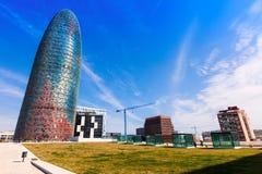巴塞罗那,西班牙看法。 Torre agbar摩天大楼 图库摄影