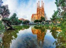 巴塞罗那,西班牙- 2月10 :Sagrada Familia的看法 库存照片