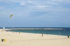 巴塞罗那,西班牙2014年4月-12 - Barceloneta Bea的天视图 免版税库存照片