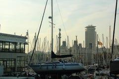 巴塞罗那,巴塞罗那西班牙港  免版税库存照片