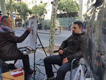 巴塞罗那, 12月28日街艺术家人凹道画象  库存图片