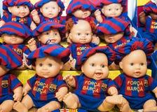 巴塞罗那, SPAIN-SEPTEMBER 17 :以巴塞罗那足球俱乐部的形式玩偶 免版税库存照片