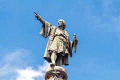 巴塞罗那 ・克里斯托弗哥伦布纪念碑 库存照片