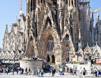 巴塞罗那 Sagrada Familia寺庙的片段  Nati门面  免版税库存照片