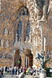 巴塞罗那 Sagrada Familia寺庙的片段  Nati门面  免版税图库摄影