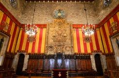 巴塞罗那s城镇厅,巴塞罗那,西班牙内部  库存照片