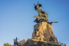 塞罗de la格洛里亚纪念碑在Mendoza,阿根廷。 免版税库存图片