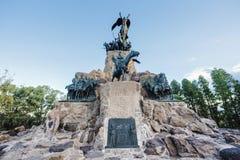 塞罗de la格洛里亚纪念碑在Mendoza,阿根廷。 免版税图库摄影