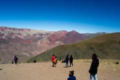 塞罗Hornocal,阿根廷'14种颜色山' 库存图片