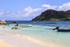 塞舌尔群岛普拉兰岛Anse Boudin海滩 库存图片