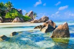 塞舌尔群岛梦想海滩 免版税图库摄影