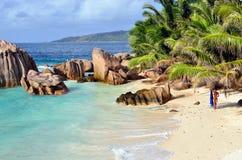 塞舌尔群岛海岛,拉迪格岛 免版税图库摄影