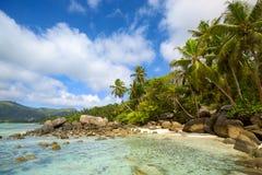 塞舌尔群岛海滩 免版税图库摄影