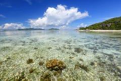 塞舌尔群岛海滩 库存照片