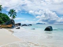 塞舌尔锡卢埃特岛海滩 图库摄影