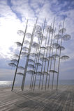 塞萨罗尼基伞雕塑 库存图片