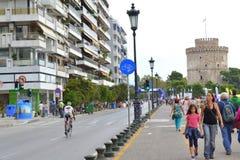 塞萨罗尼基散步视图 免版税库存照片