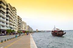 塞萨罗尼基沿海岸区全景 免版税库存图片