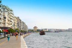 塞萨罗尼基沿海岸区全景 免版税库存照片