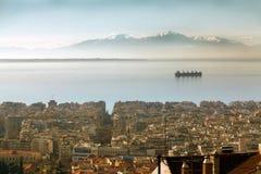 塞萨罗尼基,希腊鸟瞰图  免版税库存照片