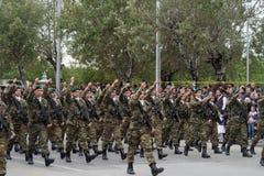 塞萨罗尼基,希腊- 2016年10月28日:Oxi天希腊军队游行 库存照片