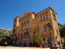 塞萨罗尼基,希腊-贴水迪米特里奥斯拜占庭式的教会  免版税图库摄影