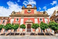 塞维利亚,安大路西亚,西班牙-萨尔瓦多教会 免版税图库摄影