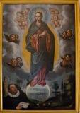 塞维利亚,西班牙- 6月19 :在皇家大教堂里面的一张绘画 免版税库存照片