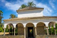 塞维利亚,西班牙- 6月19 :有女王/王后` s ro的城堡庭院 图库摄影