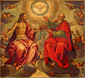 塞维利亚-三位一体油漆在教会Iglesia de la Anunciacion里马塞罗Coffermans (1560) 库存照片