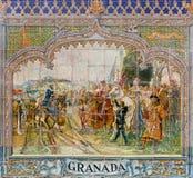 塞维利亚-作为其中一间的格兰达铺磁砖的'省凹室'沿广场de西班牙(20世纪20年代)的墙壁多明戈Prida 免版税库存图片