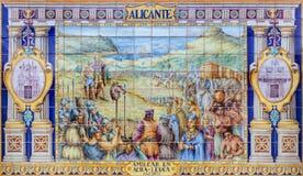 塞维利亚-作为其中一间的阿利坎特铺磁砖的'省凹室'沿广场de西班牙的墙壁 免版税图库摄影