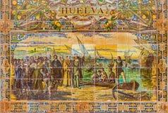 塞维利亚-作为其中一间的韦尔瓦省铺磁砖的'省凹室'沿广场de西班牙的墙壁 库存照片
