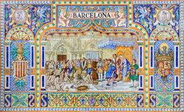 塞维利亚-作为其中一间的巴塞罗那铺磁砖的'省凹室'沿广场de西班牙的墙壁 库存图片