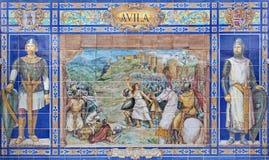 塞维利亚-作为其中一间的Avilla铺磁砖的'省凹室'沿广场de西班牙的墙壁 库存照片