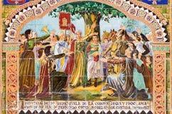 塞维利亚-作为其中一间的Logrono铺磁砖的'省凹室'沿广场de西班牙的墙壁 库存照片