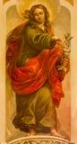 塞维利亚-圣约翰福音传教士壁画卢卡斯瓦尔德斯(1661 - 1725)在教会Iglesia de圣玛丽亚马格达莱纳里 库存图片