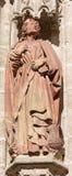 塞维利亚-圣约翰福音传教士雕象大教堂de圣玛丽亚de la塞德西部门户的  免版税库存照片
