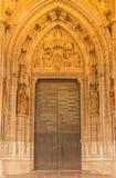 塞维利亚-在普埃尔塔圣米格尔火山的诞生场面大教堂de圣玛丽亚de la的塞德 库存照片