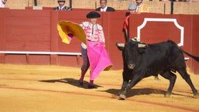 塞维利亚- 5月16 :西班牙斗牛士执行一头斗牛在Th 图库摄影