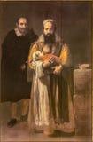 塞维利亚-有胡子的妇女的油漆- La Mujer巴布达Jusepe Ribera (1631)在Casa de Pilatos 图库摄影